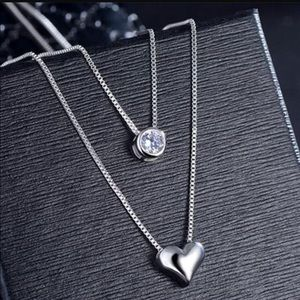 Sterling silver 925 layer Chain cubic zircon/heart